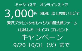 3000円以上で洗顔ミニプレゼント